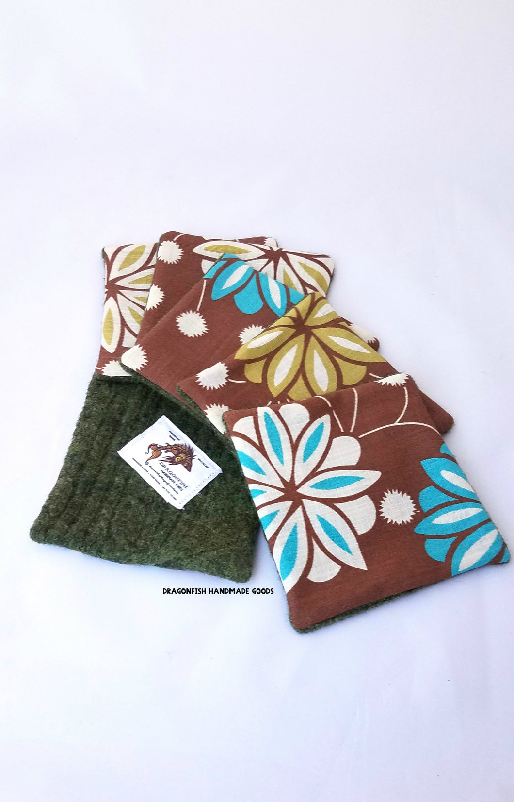 Upcycled felted sweater fabric coasters - Brown with flowers - set of 6