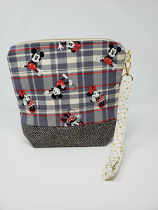 Men's Herringbone Suit & Plaid Mickey & Minnie Upcycled 8x9 Project Bag