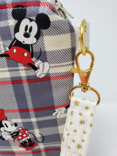 Load image into Gallery viewer, Men's Herringbone Suit & Plaid Mickey & Minnie Upcycled 8x9 Project Bag