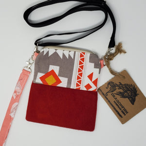Ralph Lauren Polo & Tribal Pattern Crossbody 3-way Upcycled Cell Phone Bag