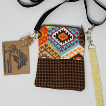 Load image into Gallery viewer, love  Dragonfish Handmade Goods  yellow  upcycled  upcycle  tribal  suit coat  suit  shoulder bag  red  recycle  print  orange  ooak  One of a kind  native  jacket  indian  hipster  hippie  hip bag  Handmade  gold  fanny pack  dark  crossbody  coat  clutch  chic  cell phone bag  buttons  brown  boho chic  boho  bohemian  blue  belt bag  bag  american indian  3way  3 way crossbody bag