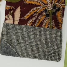 Load image into Gallery viewer, save  conserve  love  ooak  One of a kind  Dragonfish Handmade Goods  Handmade  handbag  purse  3 way crossbody bag  bag  upcycled  upcycle  red  recycle  print  Indian  hip bag  grey  gray  fanny pack  earthtones  earthtone  crossbody  clutch  cell phone bag  brown  belt bag  3way squirrel