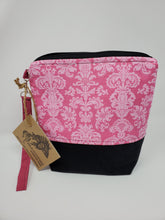 Load image into Gallery viewer, dark red  burgandy  red  upcycled  upcycle  sewing  recycle  Project Bag  pink damask  pink  pillowcase  ooak  One of a kind  linen  Knitting  Knit  Handmade  funky  embroidery  denim  damask  crocheting  crocheter  Crochet  craft bag  craft  black denim  bedsheet  bag purse