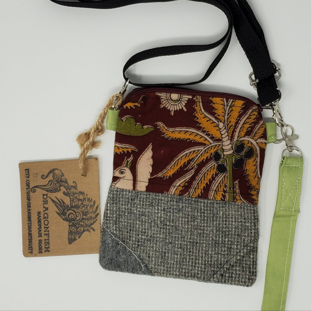 save  conserve  love  ooak  One of a kind  Dragonfish Handmade Goods  Handmade  handbag  purse  3 way crossbody bag  bag  upcycled  upcycle  red  recycle  print  Indian  hip bag  grey  gray  fanny pack  earthtones  earthtone  crossbody  clutch  cell phone bag  brown  belt bag  3way squirrel