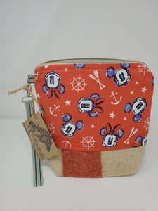 Red & Cream Wool Horse Blanket & Mickey Mouse Upcycled 8x9 Project Bag