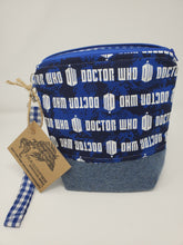 Load image into Gallery viewer, purse  wool  Weeping Angels  upcycled  upcycle  sweater  Rose Tyler  Rory and Amy  River Song  river  recycle  Project Bag  Knitting  Knit  Handmade  Geronimo  funky  dress shirt  Doctor Who  dalek  cybermen  cyberman  Crochet  craft bag  craft  bedsheet  bag  Amy Pond  Allonsy  8x9