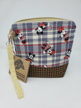 Load image into Gallery viewer, yellow  wool  upcycled  upcycle  suit  star  recycle  Project Bag  plaid  ooak  One of a kind  minnie mouse  minnie  mickey mouse  mickey minnie  mickey and minnie  mickey  knitting bag  Knitting  knitter  Knit  jacket  houndstooth  Handmade  gold star  gold  funky  felt  disney  crocheting  crocheter  crochet bag  Crochet  craft bag  craft  brown  beige  bag
