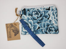 Load image into Gallery viewer, Sage Wool Sweater & Succulent Upcycled 8x6.5 Notions Clutch