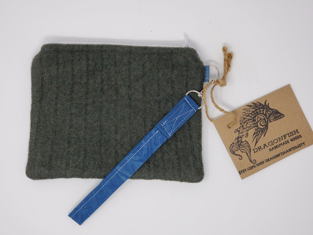 Sage Wool Sweater & Succulent Upcycled 8x6.5 Notions Clutch