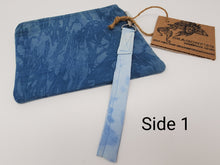 Load image into Gallery viewer, upcycled  upcycle  slow fashion  shabby chic  save  recycle  purse  natural dye  knitting bag  Knitting  Knit  indigo dyed  indigo blue  indigo  Handmade  Hand-dyed  funky  dyed  Dragonfish Handmade Goods  Crochet  craft bag  craft  conserve  clutch  boho chic  boho  bohemian  blue  bag