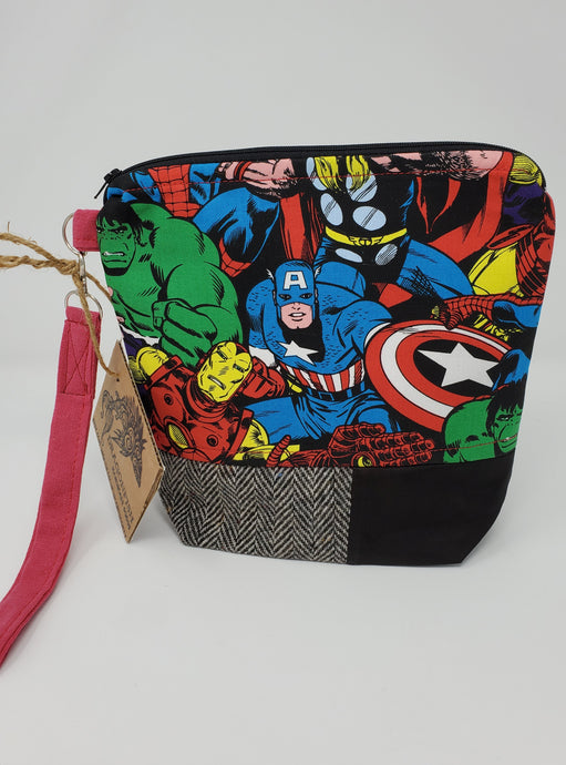 Yarn  vintage  upcycled  upcycle  Thor  superheroes  superhero  super hero  Spider-Man  retro  recycle  project bag  marvel  knitting bag  Knitting  knitter  Knit  Iron Man  Hulk  herringbone  Handmade  fish  embroidery  crocheting  crocheter  crochet bag  Crochet  craft bag  Captain America  blood  bag  8x9