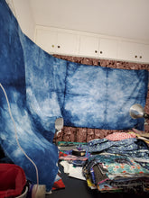 "Load image into Gallery viewer, Upcycled Hand-Dyed Indigo Panel 4 yards+ 20""x43"" with raw edge"