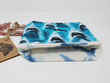 Load image into Gallery viewer, embroidery  crocheting  crocheter  crochet bag  knitter  Knit  Yarn  vintage  velvet  upcycled  upcycle  tie dye  shark  retro  recycle  quint  project bag  knitting bag  Knitting  knit  Jaws  indigo dyed  indigo blue  indigo  hooper  Handmade  hand dyed  fish  Crochet  craft bag  brody  boat  blood  bigger boat  bag