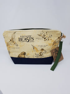 Vintage Blue Corduroy Harry Potter Fantastic Beasts Upcycled 14.5x8.5 Project Bag - LIMITED EDITION