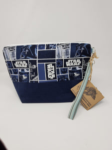 Vintage Blue Corduroy Star Wars Upcycled 13x9 Project Bag - LIMITED EDITION