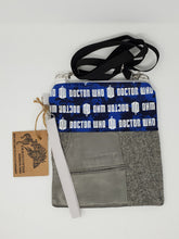 Load image into Gallery viewer, Zygon  Weeping Angels  upcycled  upcycle  Tardis blue  Tardis  suit coat  suit  shoulder bag  Sally Sparrow  Rory and Amy  River Song  river  recycle  purse  print  ooak  One of a kind  Matt Smith  jacket  hippie  hip bag  Handmade  fanny pack  Dragonfish Handmade Goods  Doctor Who  David Tennant  dark  crossbody  coat  clutch  Clara Oswald  chic  cell phone bag  boho chic  boho  bohemian  blue  belt bag  bag  Amy Pond  3way  3 way crossbody bag
