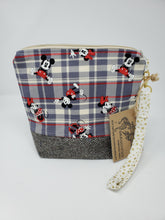 Load image into Gallery viewer, purse  herringbone  upcycled  upcycle  tartan  red  recycle  Project Bag  plaid  minnie mouse  minnie  mickey mouse  mickey minnie  mickey and minnie  mickey  knitting bag  Knitting  Knit  Handmade  funky  fun  disneyworld  disneyland  disney  denim  Crochet  craft bag  craft  cotton  brown  bag  animal