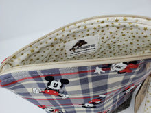 Load image into Gallery viewer, purse  herringbone  upcycled  upcycle  tartan  red  recycle  Project Bag  plaid  minnie mouse  minnie  mickey mouse  mickey minnie  mickey and minnie  mickey  knitting bag  Knitting  Knit  Handmade  funky  fun  disneyworld  disneyland  disney  denim  Crochet  craft bag  craft  cotton  brown  bag  animal stars