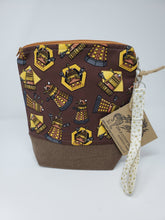 Load image into Gallery viewer, Matt Smith  David Tennant  river  River Song  Clara Oswald  Rory and Amy  Amy Pond  One of a kind  ooak  upcycled  upcycle  tardis  recycle  Project Bag  knitting bag  Knitting  Knit  hippie  Handmade  funky  exterminate  doctor who  denim  dalek  Crochet  craft bag  craft  cotton  canvas  brown  bag  Allonsy  10x11