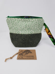 Sage Geen Wool Sweater & Paisley & Indian Flowers smaller Upcycled 8x8 Project Bag