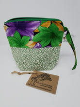 Load image into Gallery viewer, embroidery  crocheting  crocheter  crochet bag  knitting bag  knitter  blue flowers  purple flowers  ooak  One of a kind  upcycled  unicorn  recycle  Project Bag  pegasus  passion flower  Knitting  Knit  Handmade  green  funky  flowers  Crochet  craft bag  craft  bedsheet  bag  animal  8x9  80s