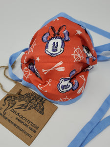 Red Mickey Minnie Nautical Upcycled Mask with Blue Ties