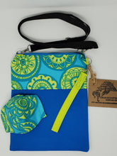 Load image into Gallery viewer, chartruese  blue green  round  wheel  mod flower  flower  mandalas  upcycled  upcycle  turquoise  shoulder bag  recycle  purse  print  mask  mandala  hippie  hip bag  Handmade  green  fanny pack  face mask  crossbody  covid 19  covid  Corona virus  clutch  chic  cell phone bag  bright blue  boho chic  boho  bohemian  blue and green  blue  belt bag  bag  3way