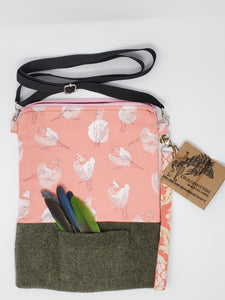 Mr. Rogers Cardigan Pocket & Pink Birds 9.5x12.5 Crossbody 3-way Upcycled Full-Sized Bag