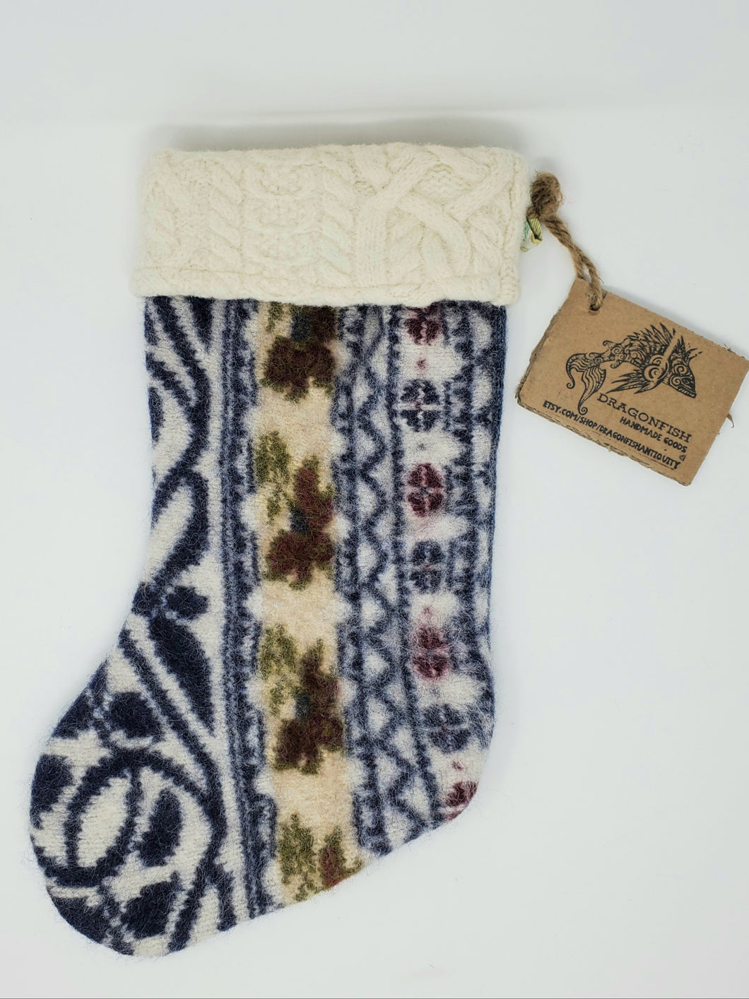 Felted Sweater Fabric Holiday Stocking -  Heirloom Blue & Flower Wool
