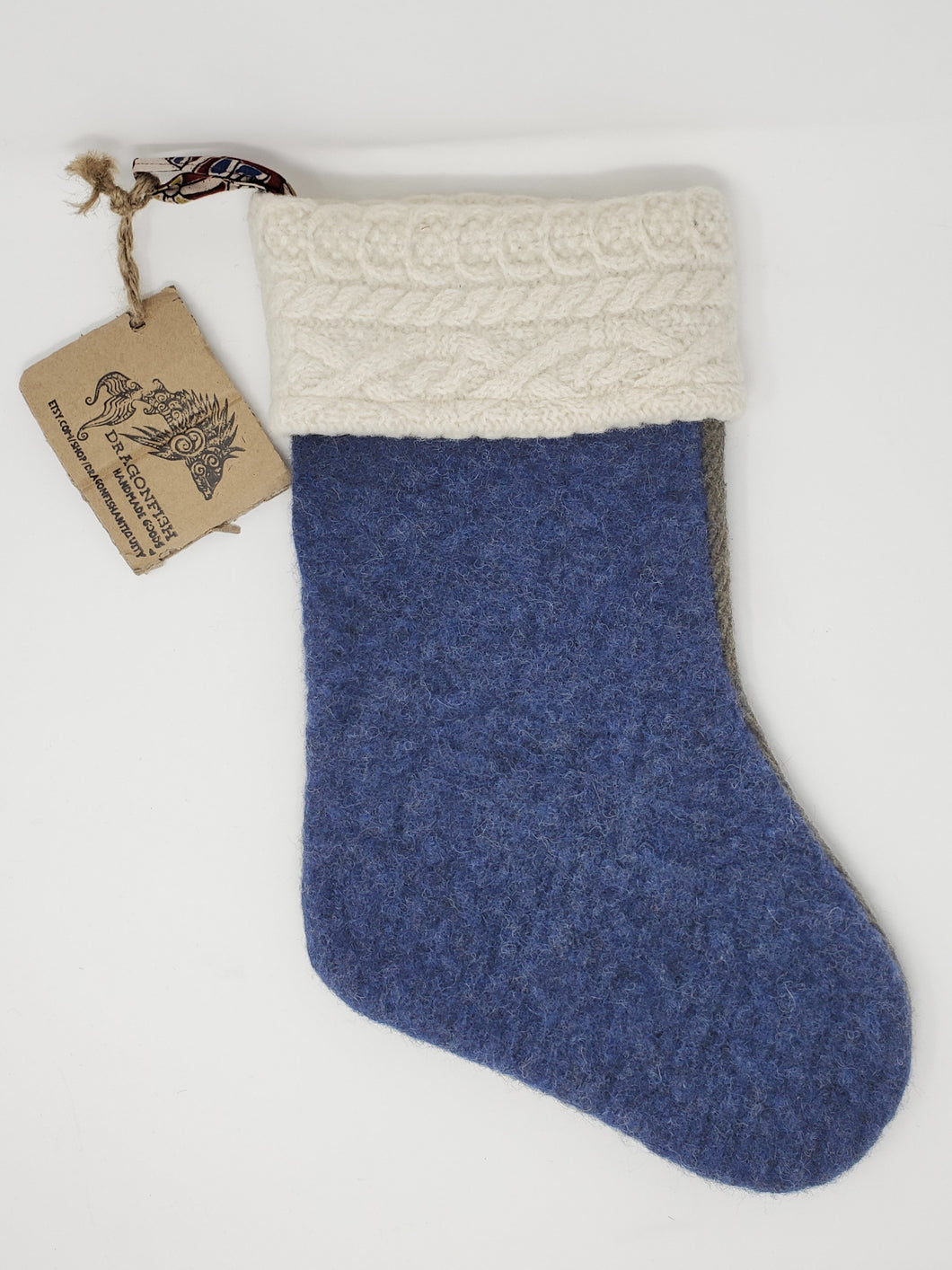 Upcycled Felted Sweater Fabric Holiday Stocking - Quilted Heirloom Blue & Olive & White