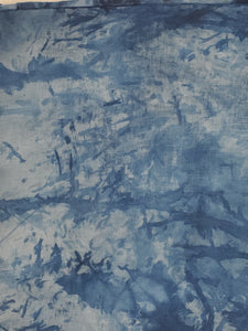 "Upcycled Hand-Dyed Indigo Panel 4 yards+ 20""x43"" with raw edge"