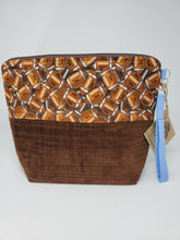Load image into Gallery viewer, Vintage Brown Corduroy Football Upcycled 14.5x11 Project Bag