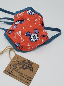 Red Mickey Minnie Nautical Upcycled Mask with Hand-dyed Indigo Blue Ties