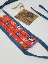 Load image into Gallery viewer, Red Mickey Minnie Nautical Upcycled Mask with Hand-dyed Indigo Blue Ties