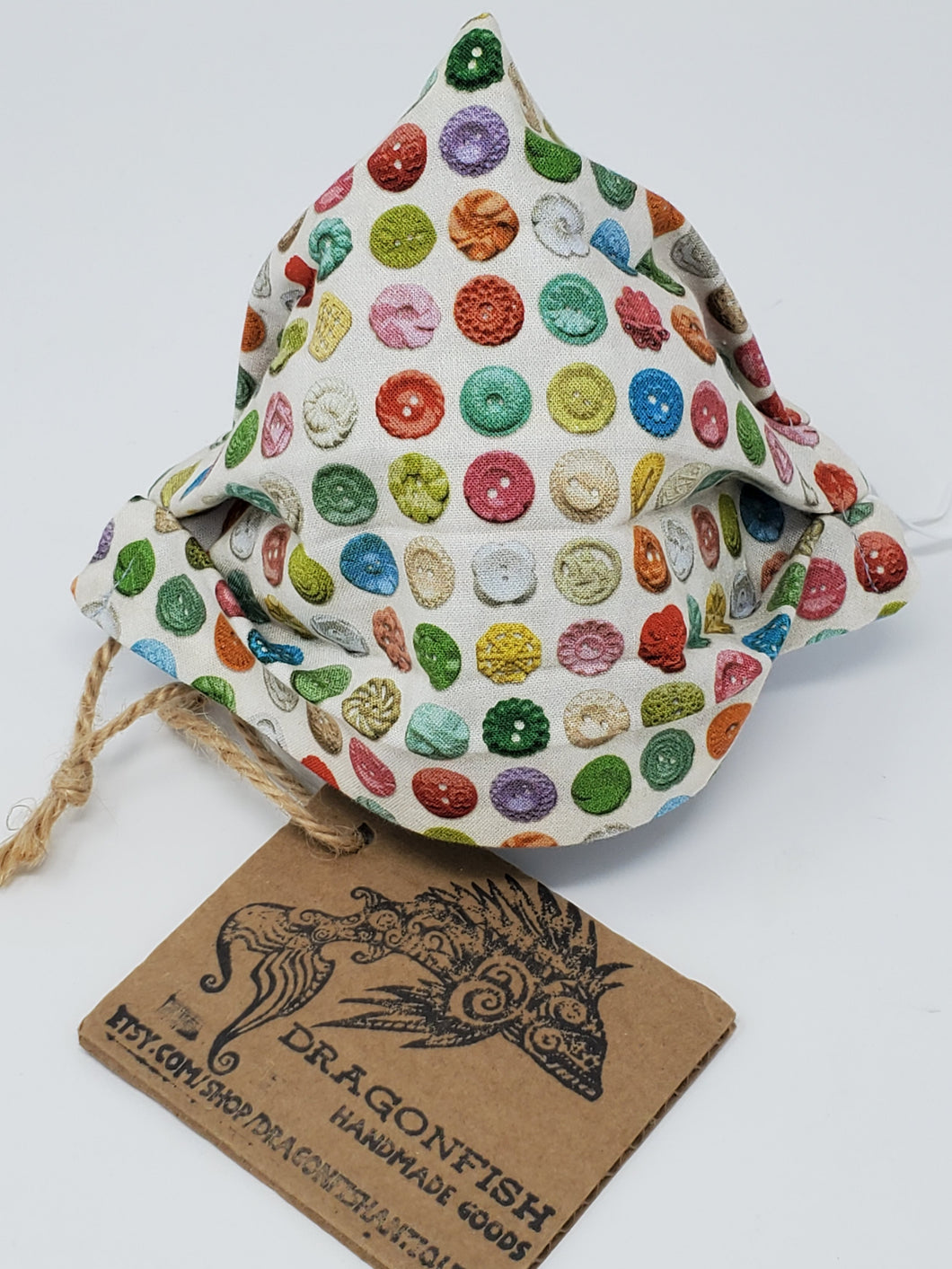 Vintage Button Collection Upcycled Mask with elastic