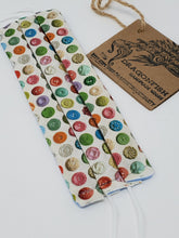 Load image into Gallery viewer, Vintage Button Collection Upcycled Mask with elastic