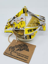 Load image into Gallery viewer, Vintage Star Trek Yellow & Black Upcycled Mask with Elastic