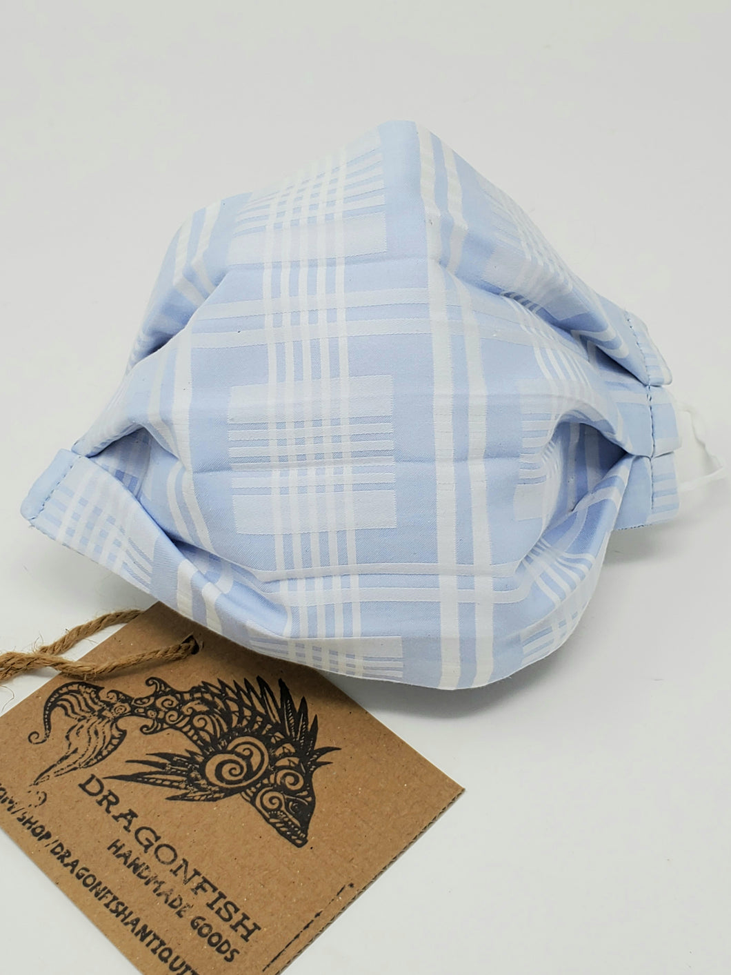 Powder Blue & White Plaid Men's Office Shirt Upcycled Mask with Elastic