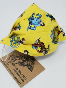 Curious George Upcycled Mask with Elastic