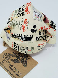Vintage Kellogg's Cereal Upcycled Mask with Elastic