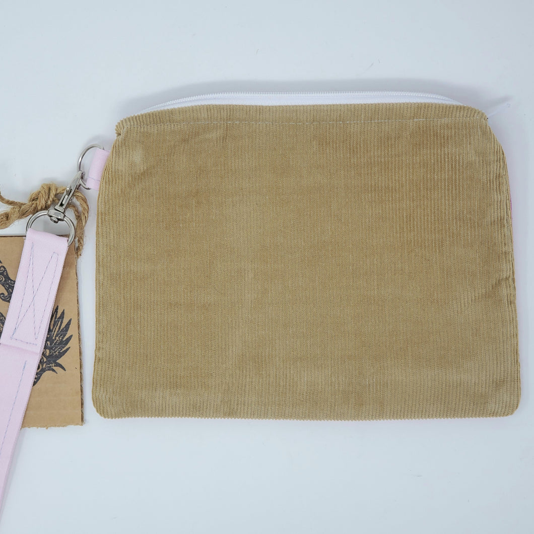 Vintage Gold Corduroy and Pink Wood Upcycled 8x6.5 Notions Clutch