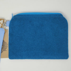 Vintage Teal Cashmere Sweater and Ocean Fish Upcycled 8x6.5 Notions Clutch