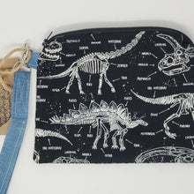 Load image into Gallery viewer, Vintage Nehru Brocade Jacket & Glow-in-the-dark Dinosaurs Upcycled 8x6.5 Notions Clutch