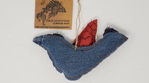 Denim Jeans, Remnant Cream Brocade Upholstery & Red Floral Tablecloth Bird Ornament