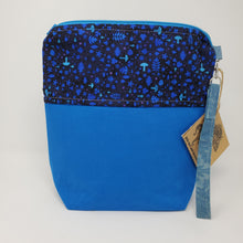 Load image into Gallery viewer, Remnant Blue Denim & Magical Mushroom Upcycled 10x11 Project Bag