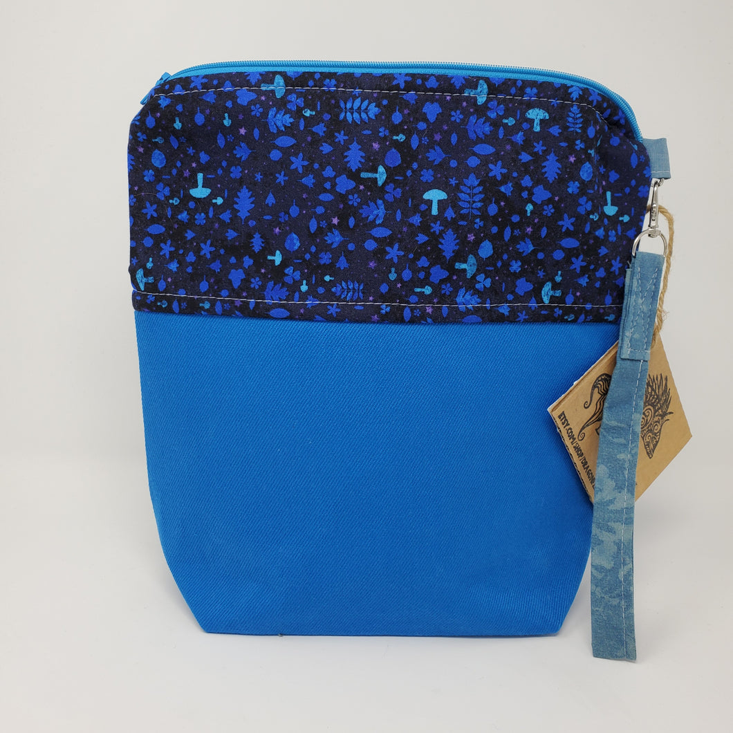 Remnant Blue Denim & Magical Mushroom Upcycled 10x11 Project Bag