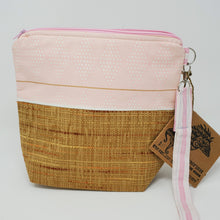 Load image into Gallery viewer, Vintage Rattan Upholstery & Pink Diamond Pattern Upcycled 8x9 Project Bag
