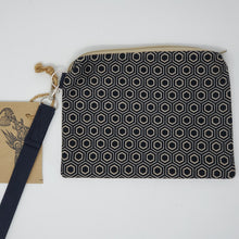 Load image into Gallery viewer, Black & Gold Hex Pants and Pink/Grey Floral Upcycled 8x6.5 Notions Clutch