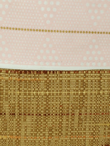 Vintage Rattan Upholstery & Pink Diamond Pattern Upcycled 8x9 Project Bag