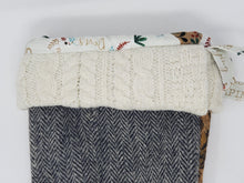 Load image into Gallery viewer, Remnant Luxurious Upholstery & Vintage Herringbone Suit Heirloom Quality Holiday Stocking